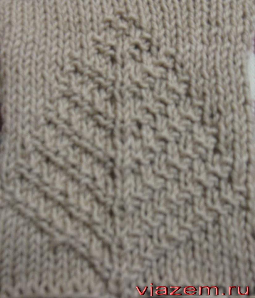 лист папоротника схема вязания спицами