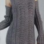 Серое ажурное платье спицами