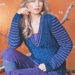 Пуловер с косами и полосками с V-образным вырезом