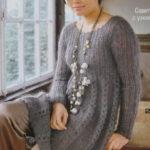 Платье  вязаное спицами из мохера в стиле ампир