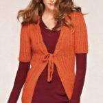 Оранжевый вязаный жакет с укороченным рукавом