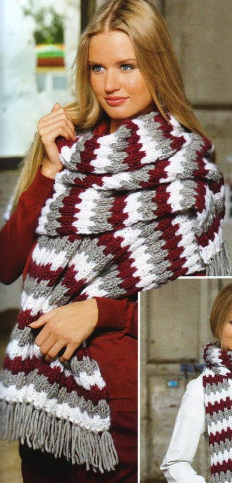узор спицами из плюшевой пряжи для шарфа