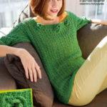 Зеленый ажурный пуловер вязаный сетчатым узором