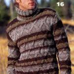 Мужской свитер с ромбами, связанный из меланжевой пряжи