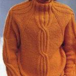 Мужской свитер спицами вязаный регланом с узором из кос