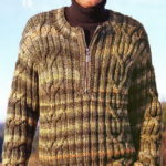 Мужской пуловер с косами из меланжевой пряжи