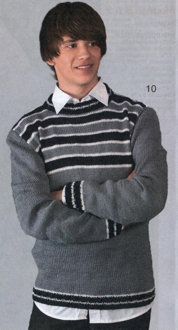 Вяжем пуловер в полоску