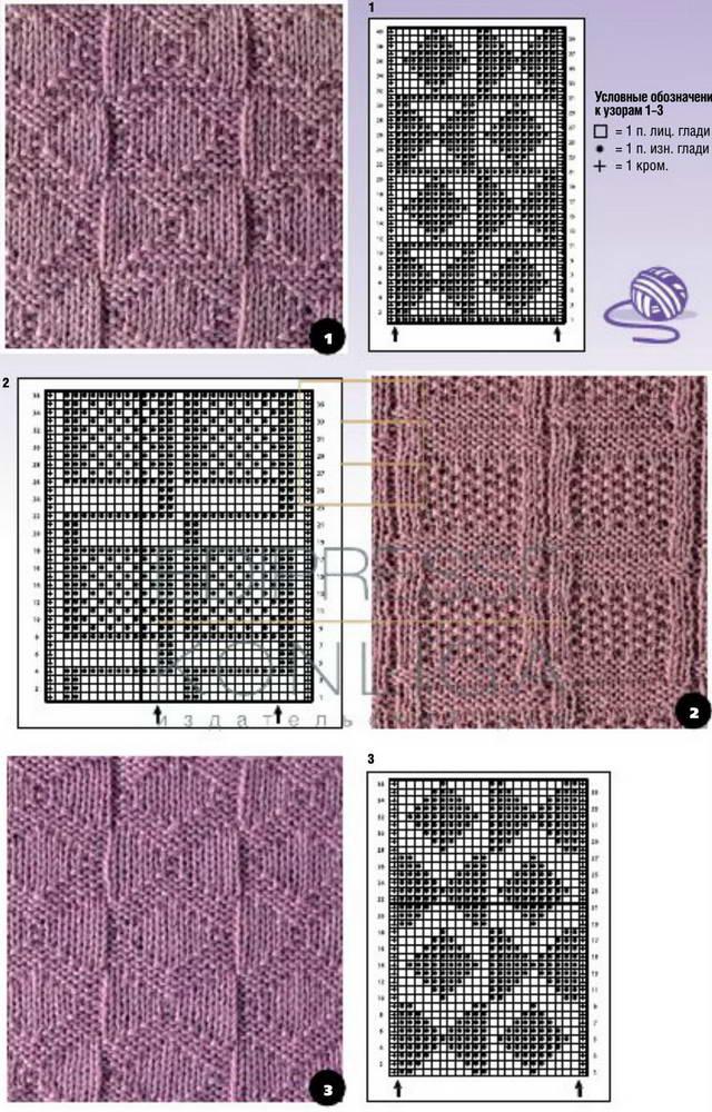 Схема вязания спицами узоров лицевыми и изнаночными 858