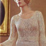 Ажурное платье спицами цвета шампань