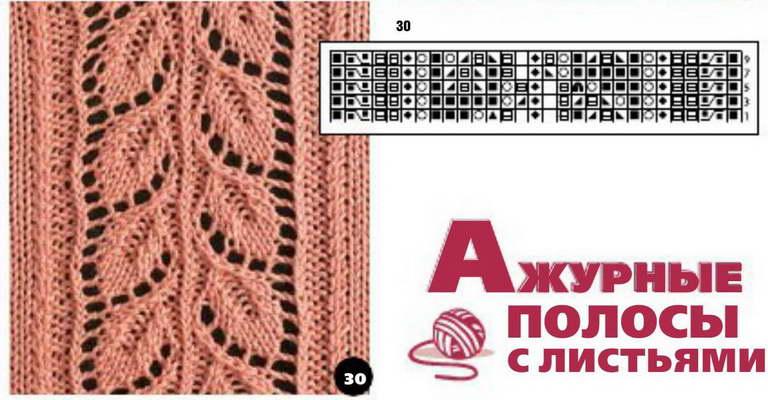 Вязание спицами схемы ажурных полосок
