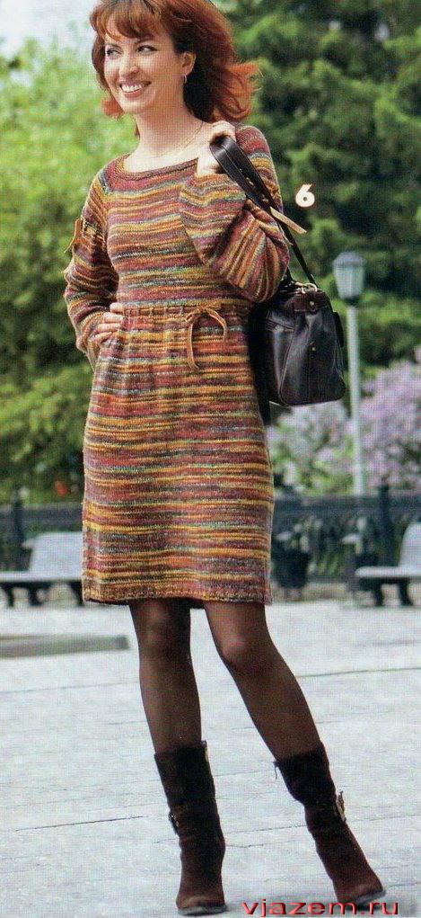 Вязаное платье спицами рукава реглан