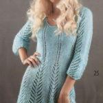 Бирюзовое ажурное платье из мохера