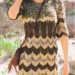 Ажурное вязаное платье с узором «зигзаг» из меланжевой пряжи