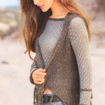 Комплект: ажурный пуловер спицами вязаный и жилет с бахромой
