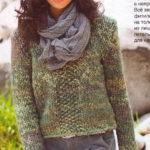 Меланжевый пуловер из толстой пряжи