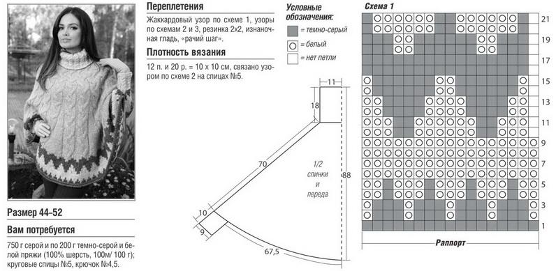 Схема вязания первого пончо:
