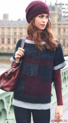 пуловер вязаный спицами, женский пуловер вязаный спицами