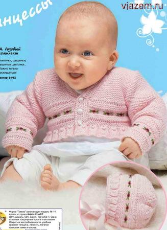 жакет и шапочка, вязание для маленькой девочки