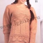 Удлиненный вязаный женский свитер