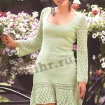 Светло-зеленое вязаное женское платье