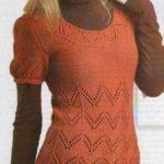 Теплая вязаная ажурная туника  кирпичного цвета