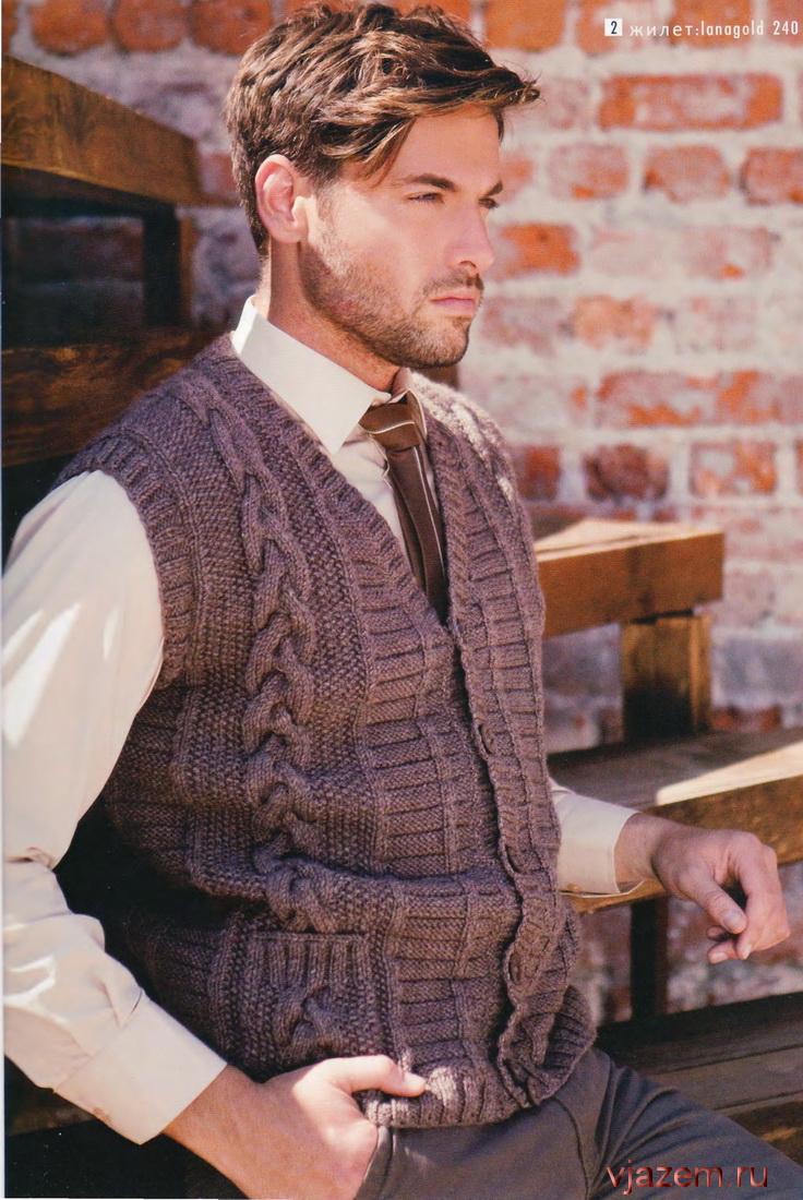 схема для красивого мужского шарфа спицами