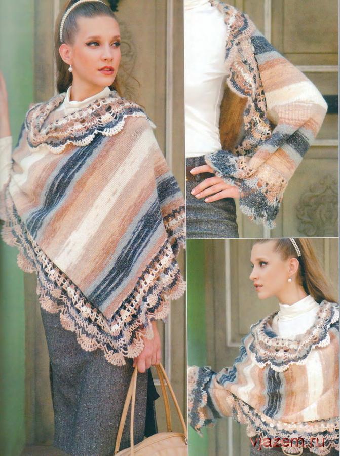 Ализе цветная пряжа спицами шаль
