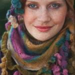 Красивый комплект: шапка и шарф из секционной пряжи