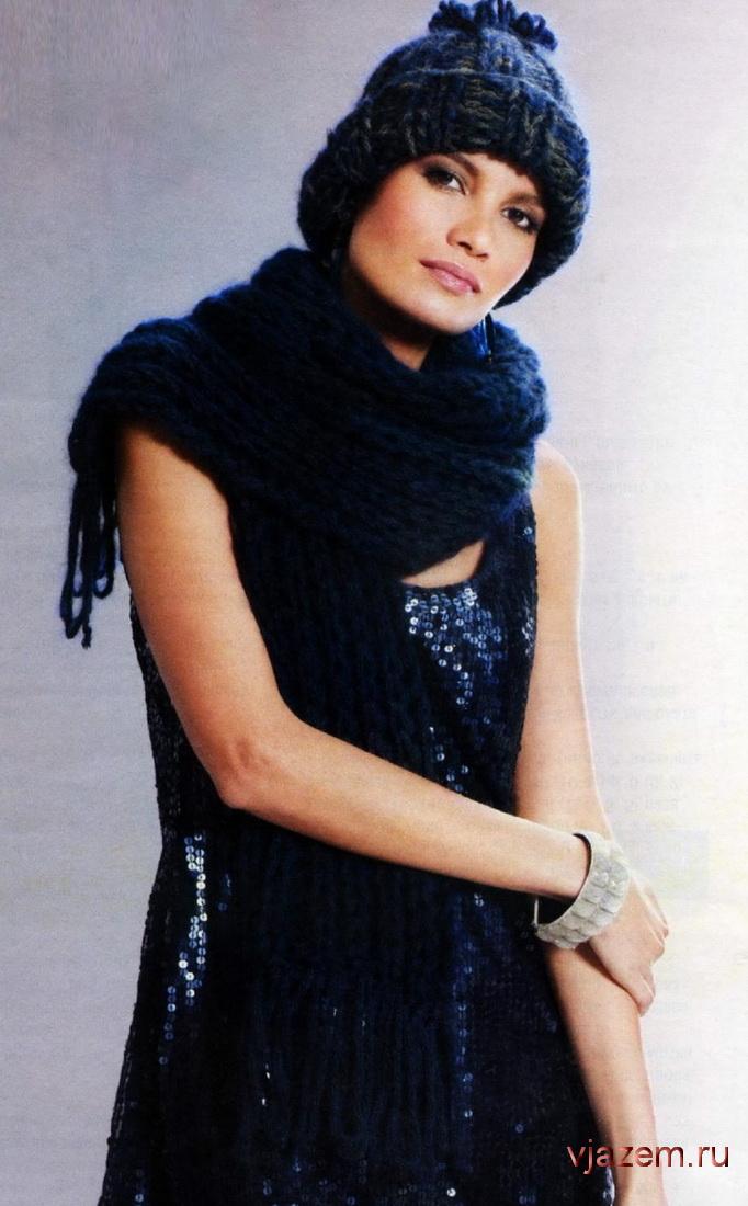 комплект вязание шарфа шапки