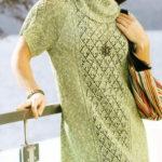 Зеленое  вязаное платье  большого размера
