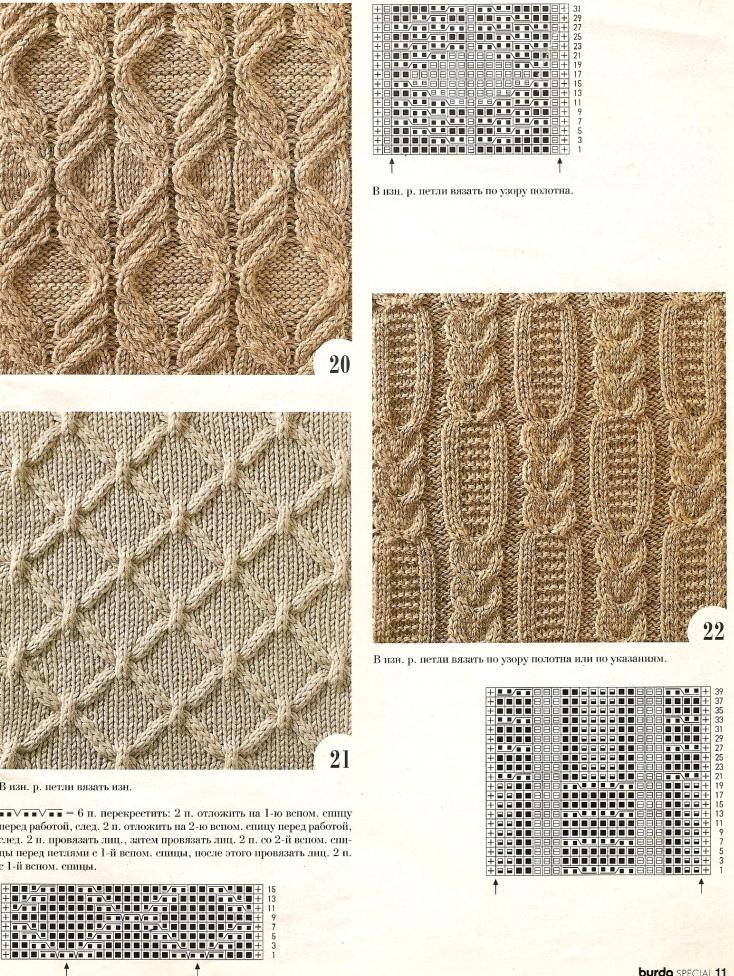 Японские рельефные узоры для вязания спицами со схемами 15