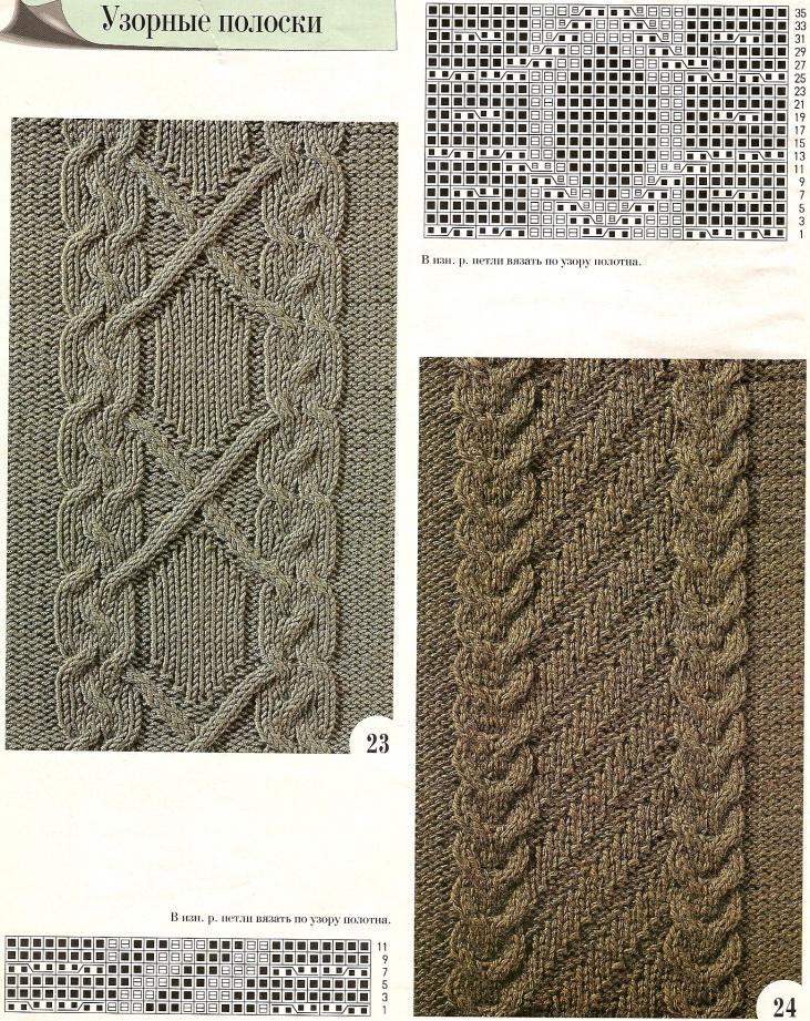 Узоры выпуклые вязания на спицах и их описание 504