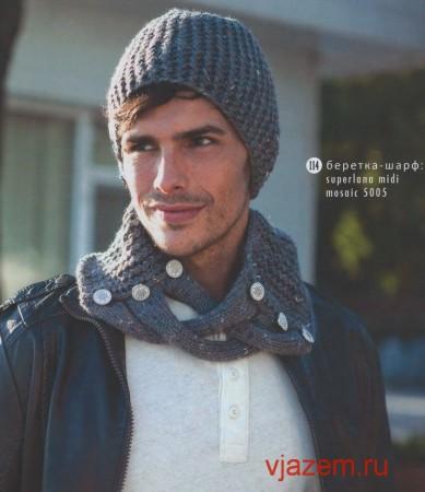Описание и схема вязания комплекта из шапки и шарфа мужского спицами