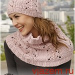 Вязаная спицами шапка из Дропс «Розовые объятья»