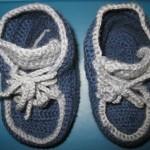 Голубые пинетки-кеды крючком с пошаговым описанием