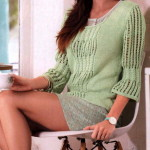 Зеленый пуловер с ажурными рукавами