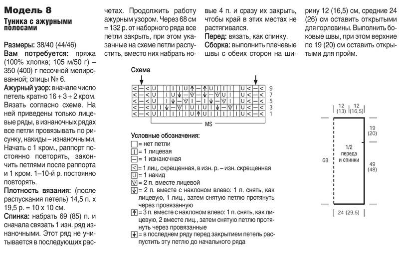 Схемы для вязания спицами ажурные туники 268