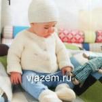 Пинетки, шапочка и кофточка для малыша спицами