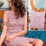 Розовое платье крючком из цветочных мотивов