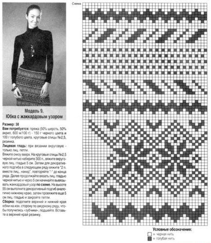 Схема жаккардового узора спицами для юбки