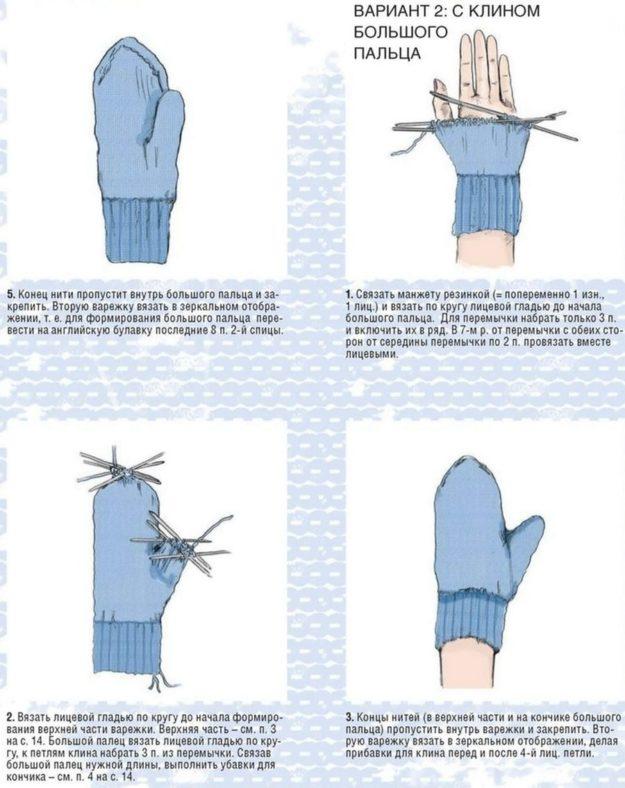 Вязание спицами варежки большого пальца 63
