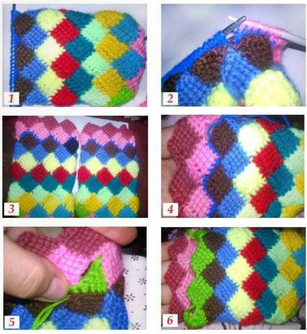 Вязание носков из квадратиков спицами 2