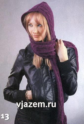 шарф капюшон спицами схема и описание