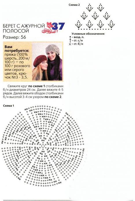 схема вязания берета крючком