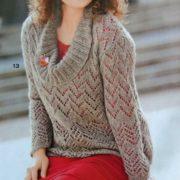 пуловер большого размера спицами