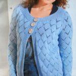 Голубой ажурный жакет спицами для полных женщин со схемами