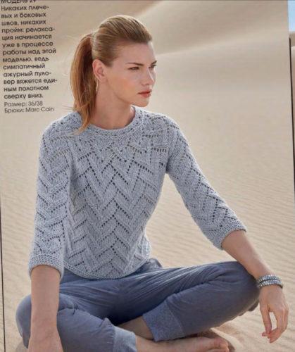 пуловер с круглой кокеткой спицами от горловины