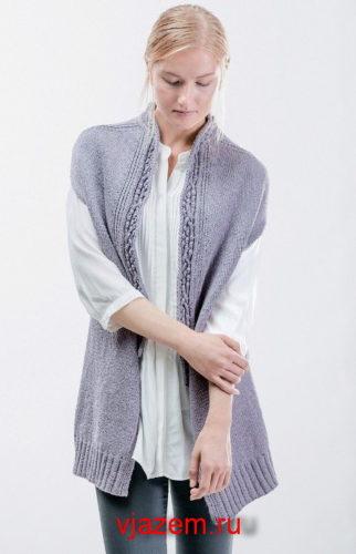 удлиненный жилет спицами для женщин