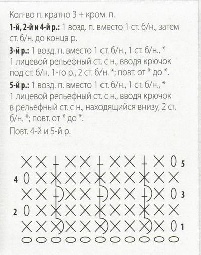 Кол-во п. кратно 3 + кром. п. 1-й, 2-й и 4-й р.: 1 возд. п. вместо 1 ст. 6/н., затем ст. б/н. до конца р. 3-й р.: 1 возд. п. вместо 1 ст. б/н., 1 ст. б/н., * 1 лицевой рельефный ст. с н., вводя крючок под ст. б/н. 1 -го р., 2 ст. б/н. *; повт. от * до *. 5-й р.: 1 возд. п. вместо 1 ст. б/н., 1 ст. б/н., * 1 лицевой рельефный ст. с н., вводя крючок в рельефный ст. с н., находящийся внизу, 2 ст. б/н. *; повт. от * до * Повт. 4-й и 5-й р.