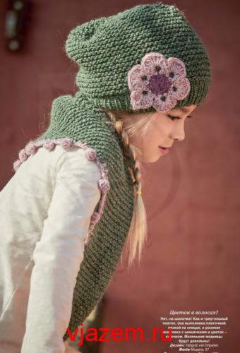 шапка платочной вязкой спицами для девочки